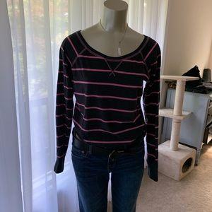 Dark grey and pink striped sweatshirt